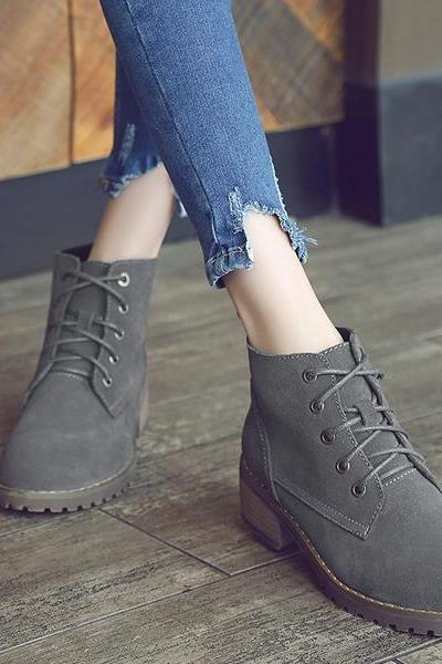 Round Toe Lace Up Low Chunky Heels Short Boots