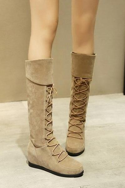 Curled Edge Up Round Toe Inside Heels Knee Length Boots