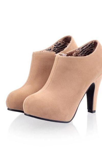 Side Zipper Round Toe Stiletto High Heels Short Boots