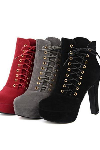 Side Lace Up Round Toe Stiletto High Heels Short Boots