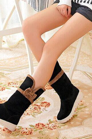 Bowknot Decorate Round Toe Flat Half Snow Boots