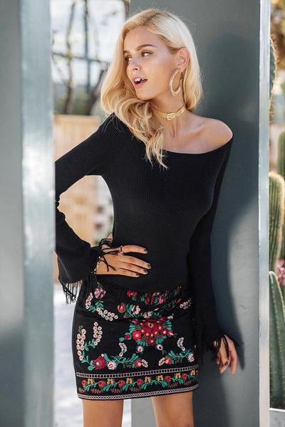 Sexy Pure Color Off Shoulder Fringed Long Sleeves Sweater