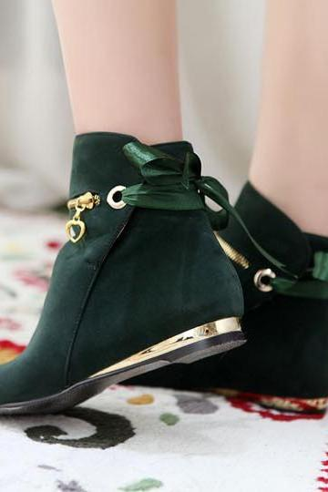 Zipper Decorate Round Toe Solid Color Straps Short Boots
