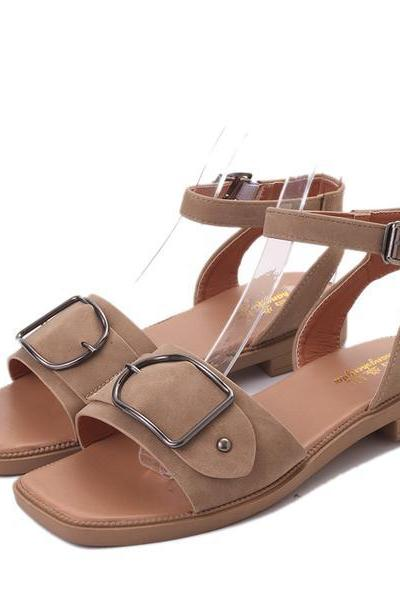 Hasp Open Toe Ankle Wrap Flat Sandals