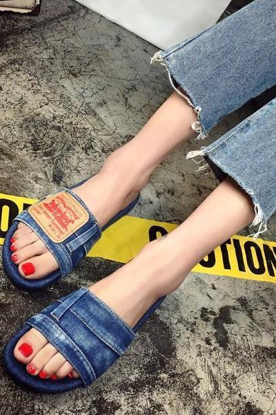 Denim Open Toe Slip On Slippers, Flat Sandals