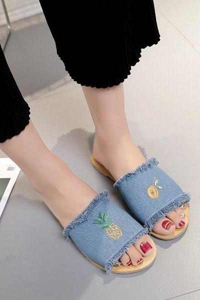 Pineapple Print Denim Slide Sandals Featuring Frayed Detailing