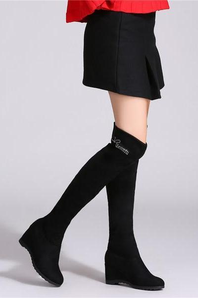 Inside Wedge Round Toe Pure Color Over-knee Long Boots