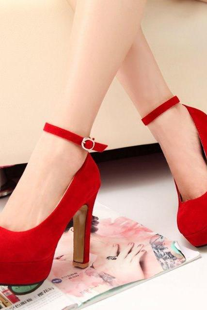 Candy Color Ankle Wrap Round Toe Platform High Heels Party Shoes