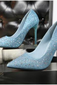 Crystal Pointed Toe Low Cut Stiletto Super High Heels