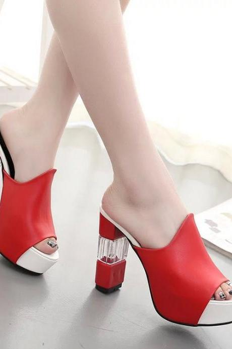 Peep-toe PU Chunky Heel Slipper Sandals