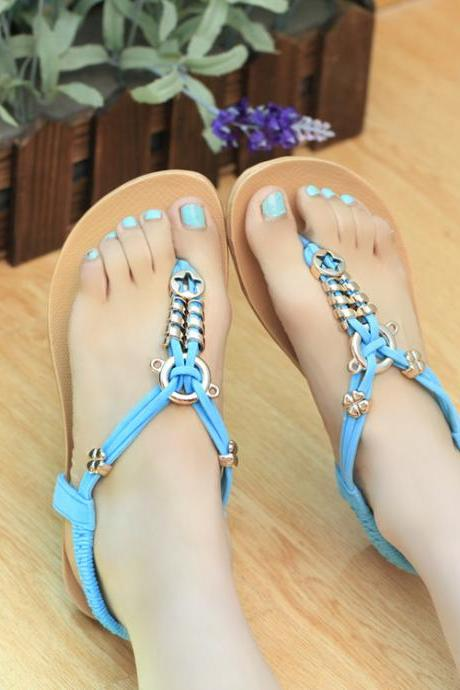 Straps Slip-on Flat Beach Sandals