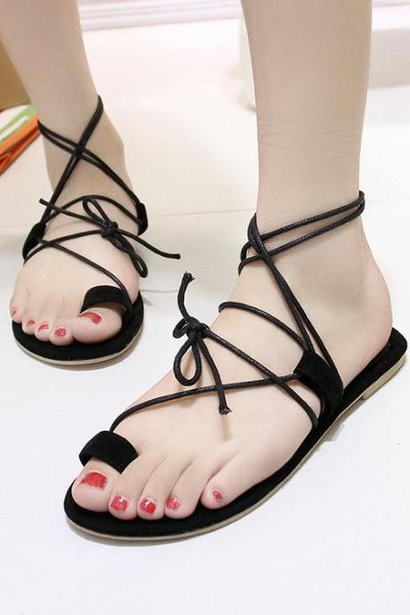 Thong Lace-Up Strappy Flat Sandals