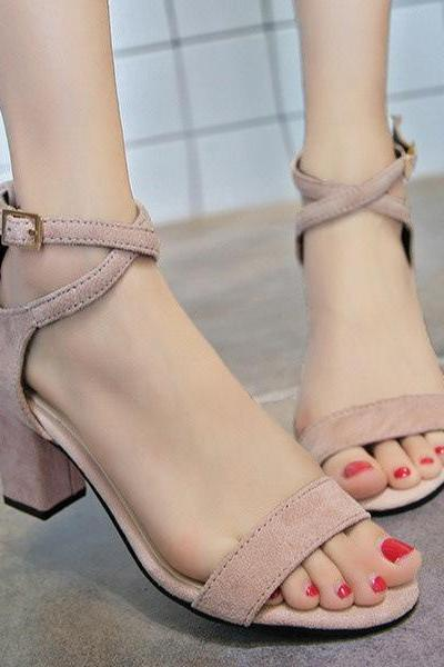 Cross Straps Ankle Open Toe Low Chunky Heels Sandals