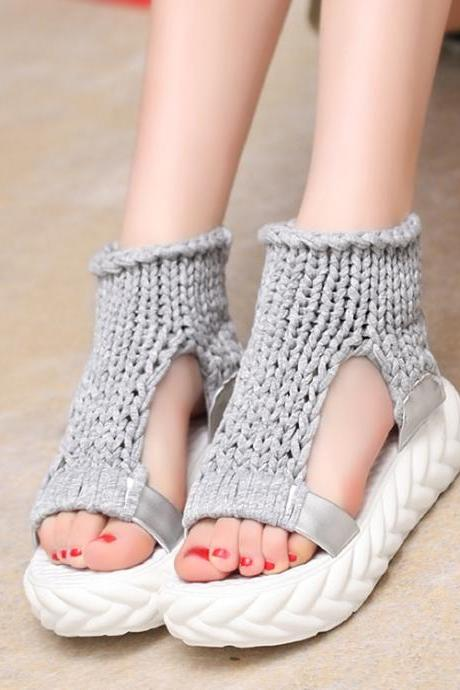 Gray Knitted Cut Out Open Toe Platform Sandals