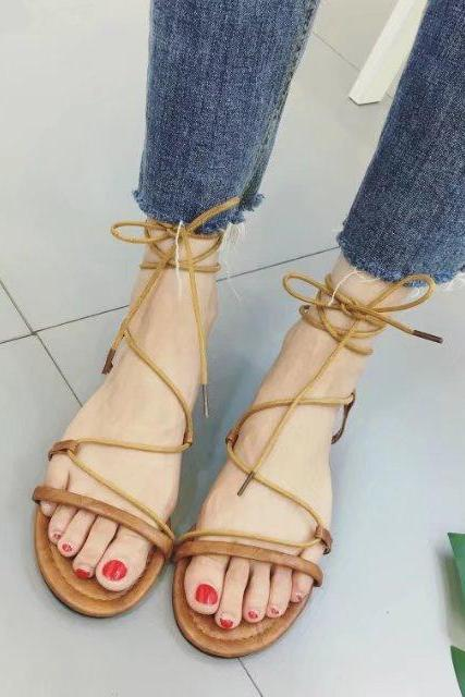 Ankle Straps Wraps Open Toe Roman Flat Beach Sandals