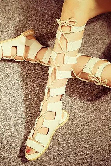 Roman Straps Cross Open Toe Long Boot Sandals