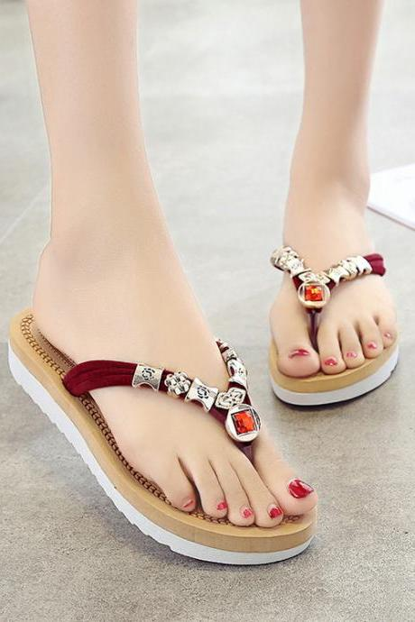Beadings Slip-on Open Toe Beach Slipper Sandals