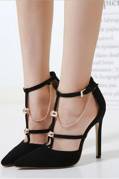 Chain Decorate Pointed Toe Ankle Wrap Stiletto High Heels