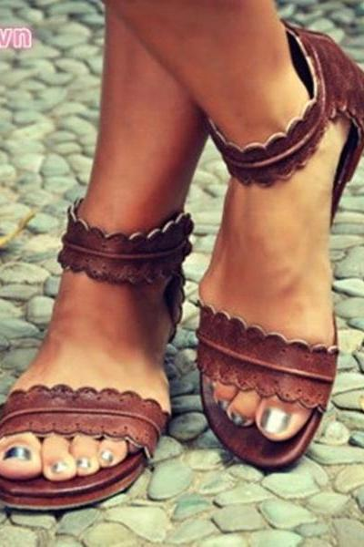 Simpler Style Open Toe Ankle Wrap Flat Sandals