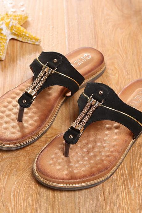 Metal Chain Slip-on Flat Slippers Sandals