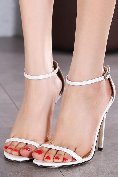 Simple Open Toe Ankle Wrap High Stiletto Heels Sandals