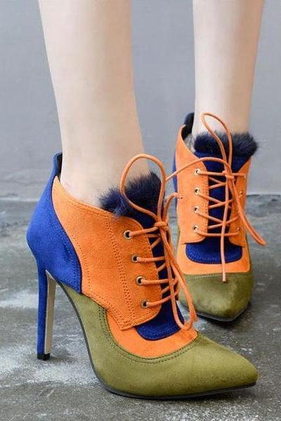Multi-Coloured Pointed Toe Lace Up Suede High Heel Ankle Boots with Faux Fur