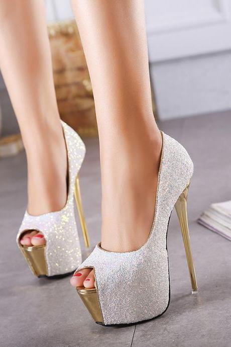 Shinning Peep Toe Platform Super High Stiletto Heels Sandals