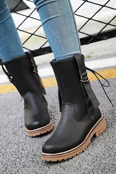 Back Lace Up Round Toe Low Chunky Heels Short Martin Boots