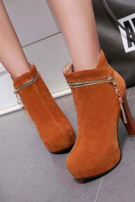 Zipper Decoration Round Toe Stiletto High Heels Short Boots