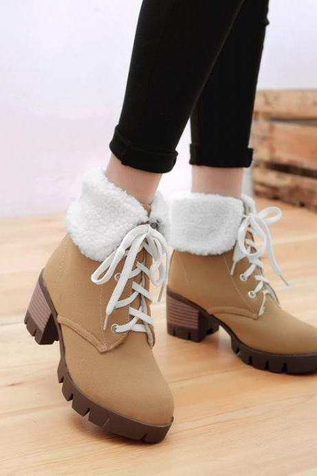 Curled Edge Lace Up Round Toe Low Chunky Heels Short Boots