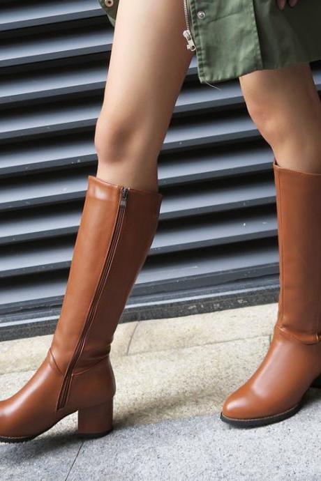 Metal Decoration Side Zipper Round Toe Low Chunky Heels Long Boots
