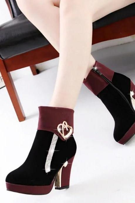 Crystal Metal Decorate Platform Middle Chunky Heels Short Boots