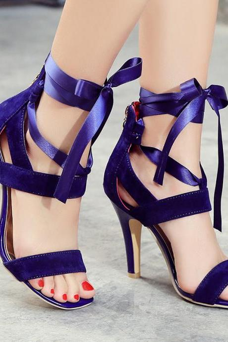 Suede Open-Toe Lace-Up Stilettos, High Heels