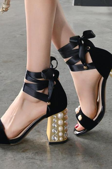 Open-Toe Pear Beaded Ankle Wrap Chunky Heels