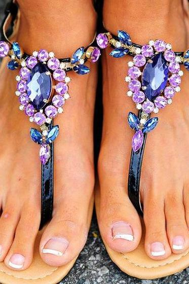 PU Flat Peep-toe Slipper Thong Sandals