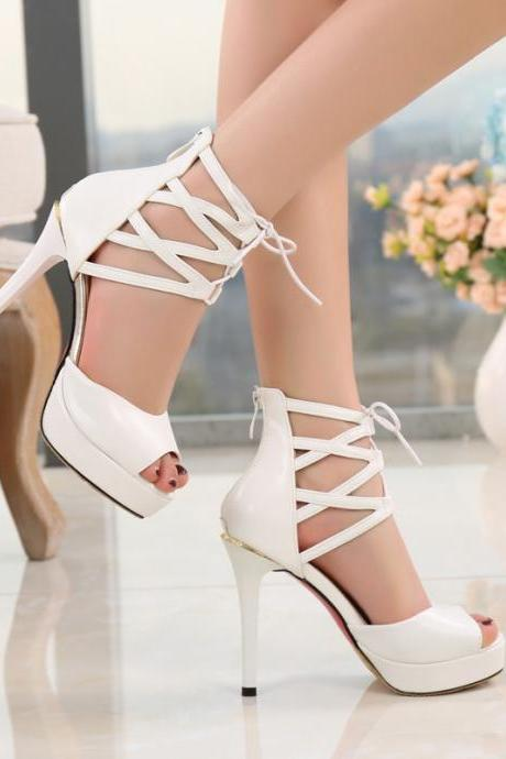 Straps Cross Platform Peep Toe Stiletto High Heels Sandals