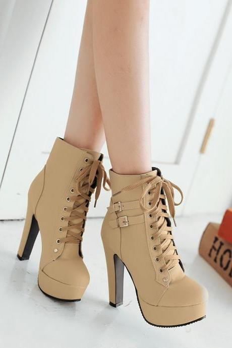 Platform Lace Up Stiletto High Heels Short Boots