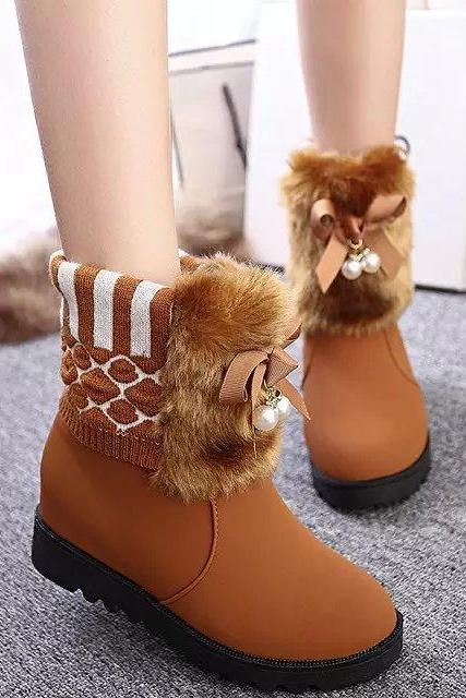 Beads Faux Fur Decorate Round Toe Short Snow Boots