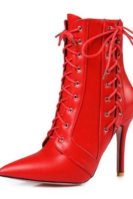 Faux Leather Lace-Up Accent Pointed-Toe High Heel Ankle Boots