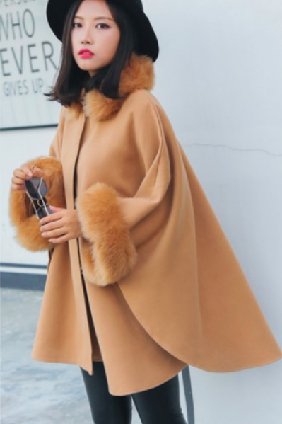 Hooded Faux Fur Collar Warm Women Cloak Cape Winter Coat