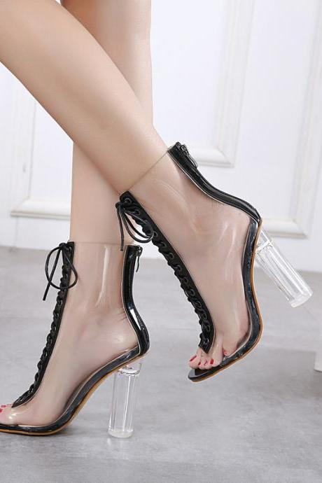 Barely-There Transparent Lace-Up Chunky Heel Ankle Boots with Zipper Closure