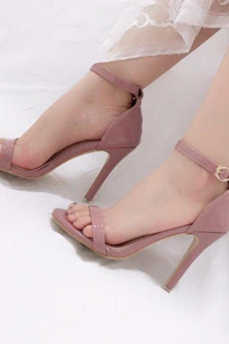 Patent Leather Ankle Strap High Heel Sandals