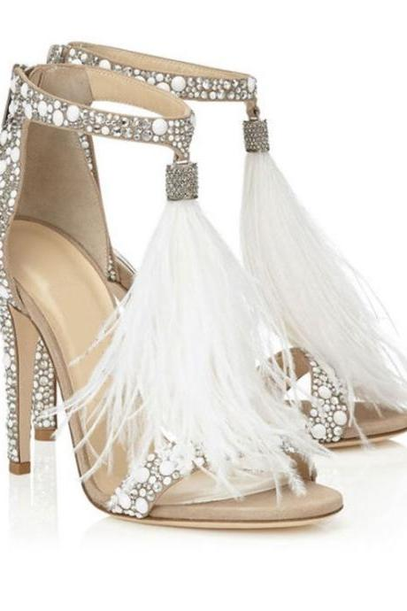 Open Toe Crystal Adorned High Heel Sandals Featuring Feather Tassel