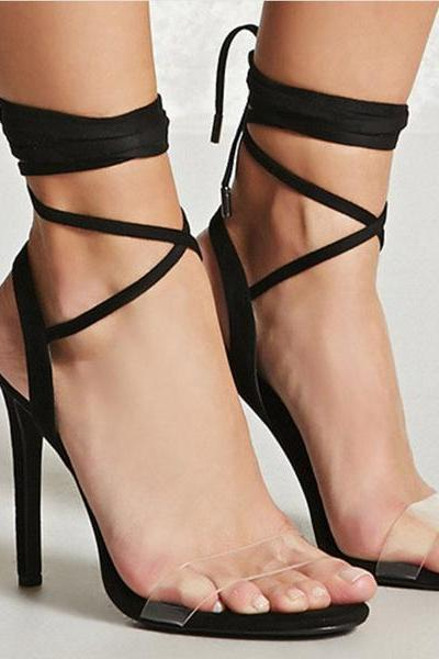 Barely - There Transparent Open Toe Lace-Up High Heels