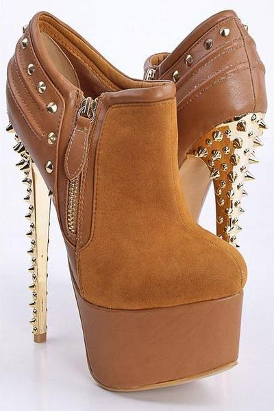 Spikey Stiletto Platform Ankle Boots with Zipper Embellishment and Studs