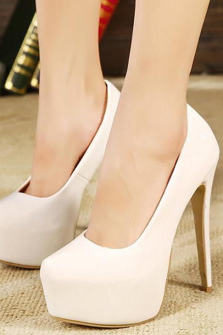 White Patent Leather Rounded-Toe Platform High Heel Stilettos