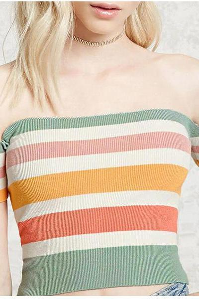 Striped Off Shoulder Short Sleeves Short Crop Top