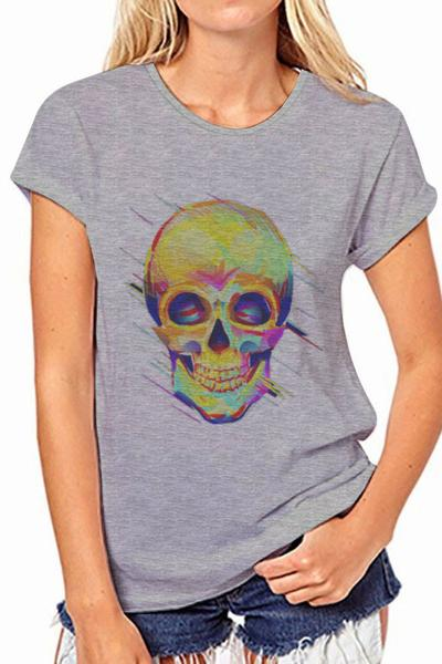 Print Gray Scoop Short Sleeves Regular T-shirt