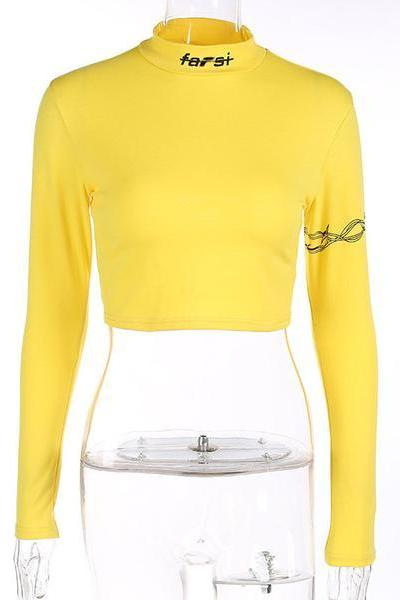 Solid Color High Neck Long Sleeves Slim Short Crop Top