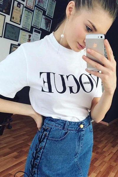Letter Scoop Solid Color Short Sleeves T-shirt